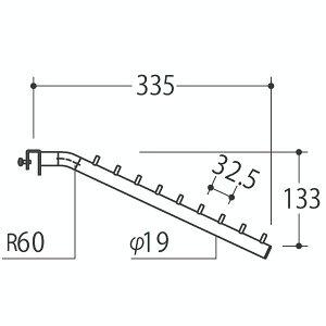 Vフェイスアウトスロープ 19径 フック9個 Aニッケルサテン 受注生産 ロイヤル V-FSK-19-9 ( 棚 角パイプ 水平 ダブル 傾斜連掛け 陳列棚 商品棚 パイプハンガー フェイスアウトハンガー 引っ掛け