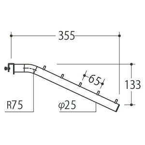 Vフェイスアウトスロープ 25径 フック5個 APゴールド 受注生産 ロイヤル V-FSK-25-5 ( 棚 角パイプ 水平 ダブル 傾斜連掛け 陳列棚 商品棚 パイプハンガー フェイスアウトハンガー 引っ掛け式衣料