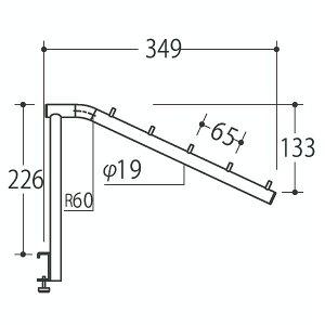 Vフェイスアウトスロープ アップタイプ 19径 フック5個 APゴールド 受注生産 ロイヤル V-FSUK-19-5 ( 棚 角パイプ 水平 ダブル 傾斜連掛け 陳列棚 商品棚 パイプハンガー フェイスアウトハンガー