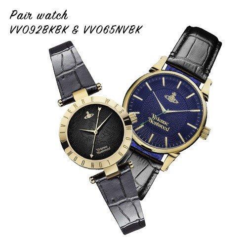 【ヴィヴィアンショッパープレゼント!】【並行輸入品】 VIVIENNE WESTWOOD ヴィヴィアンウエストウッド 腕時計 ペアウォッチ レザー VV065NVBK VV092BKBK
