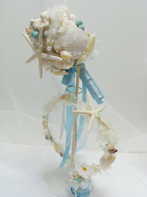 貝殻ブーケ マーメイド*ブートニア付&リストレット&ヘッドドレス [リゾートウェディング][花冠][スターフィッシュ][ウェディングブーケ][ブライダルブーケ][ヘッドドレス][ヘアード]「リストブーケ」[貝殻冠][シェルブーケ]