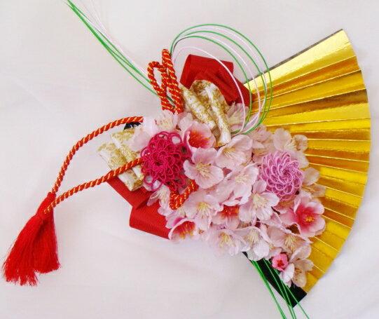 和装用ブーケ 春の和ブーケ*扇子桜[ウェディングブーケ][ブライダルブーケ][桜][水引][前撮り][ブーケ][造花][和装用]
