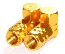 【Areyss】汎用 アルミエアバルブキャップ ナット型2ライン 4個セットパッケージ版(金 ゴールド) 140829