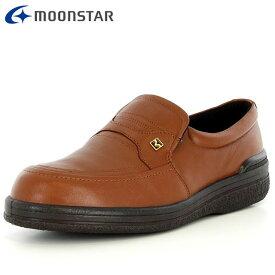 ムーンスター コンフォートシューズ メンズ SPH3502 B ブラウン 42293523 MS 4E しなやかなソフトレザー 水をはじいて靴内を快適 幅広 靴