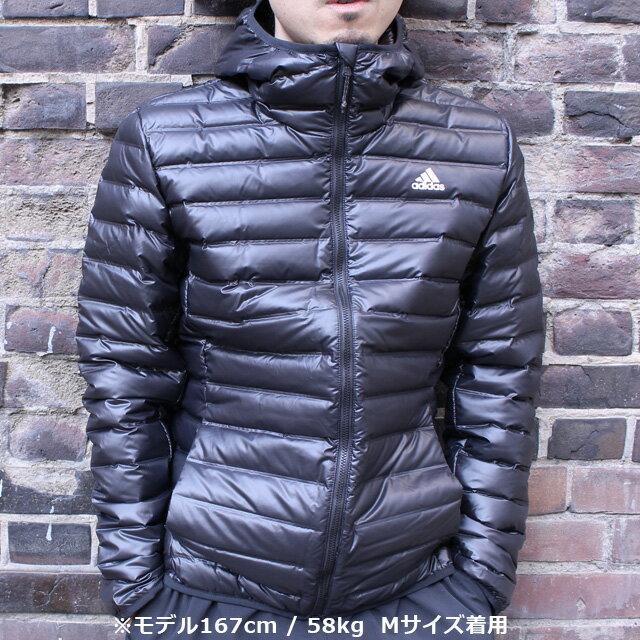 ☆アディダス メンズ ライト ダウンジャケット パーカー VARILITE 軽量 フーディー フルジップアップ アウター adidas DKQ81 あす楽