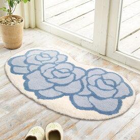 玄関マット 室内 屋内 50×80 楕円 花柄 ラヴィアン