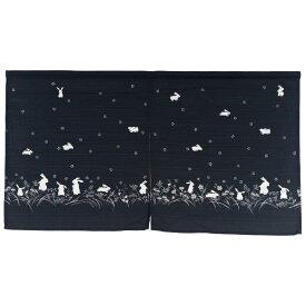 のれん 暖簾 ショート 85×45 ウサギ 綿100% かわいい 和風 和 日本製 おしゃれ ウサギの行列