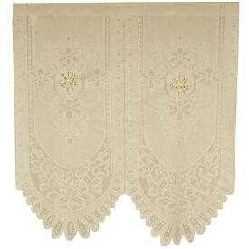北欧 アーチ のれん 間仕切り 洗える 85×90 ユリ刺繍バテン
