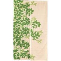 のれん和風暖簾間仕切り洗える85×150両面プリントリーフ北欧かわいいおしゃれグリーン北欧リーフぽっきり