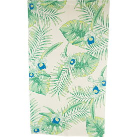 のれん ハワイアン 暖簾 間仕切り 洗える 85×150 葉 花 かわいい おしゃれ 緑 グリーン ブルー 青 ボタニカル BL