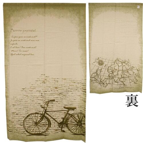 のれん間仕切りおしゃれ北欧自転車地図85×150クロスバイク