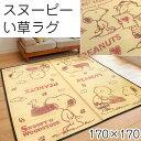 い草 ラグ 2畳 スヌーピー 夏用 ラグマット 夏 170×170 ござ カーペット レター ランチスヌーピー