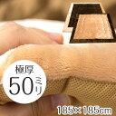 極厚 ふっくら 厚手 5cm ラグ 2畳 185×185 ホットカーペットカバー フランネル ベージュ ブラウン ボリュームラグ 冬用 秋冬 暖かい