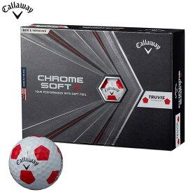 [送料無料] キャロウェイ CHROME SOFT X TRUVIS クロム ソフト エックス トゥルービス ゴルフボール 1ダース(12球入り) ホワイト/レッド [2020年モデル] 【あす楽対応】 [有賀園ゴルフ]