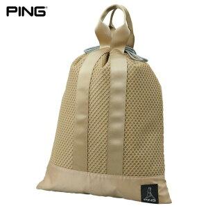 PING ピン メンズ UTILITY MESH POUCH メッシュ シューズバッグ GB-U214 35529-02 LightGold [2021年モデル] [有賀園ゴルフ]