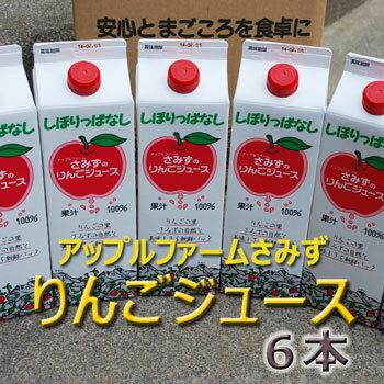 りんごの味そのまま「さみずのりんごジュース」1000ml×6本入★東北〜関西のみ送料無料