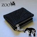 ZOO(ズー) 象革 エレファントレザー メンズ 二つ折り財布 zbf-018 バジャービルフォールド16 ダブルファスナー ブラック