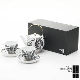 和食器 急須 コーヒーカップ JAPAN SNOW ティーポット 1個 カップ&ソーサー 2個 古伊万里草花紋 化粧箱 和食器 セット 和モダン ブランド 食器 食器ギフト お中元 アリタポーセリンラボ
