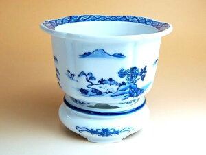 植木鉢 おしゃれ 陶器鉢 有田焼 波佐見焼 山水 木甲型植木鉢