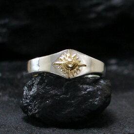 リング 【NO.6】 ゴールド 太陽神 付き シルバー シェイプリング 素材: SV925 K18
