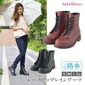 レースアップレインブーツレインシューズおしゃれショートミドルゴム長靴防水雨靴雨具ワークブーツアウトドアガーデニングブラックArk-Shoesアークシューズ