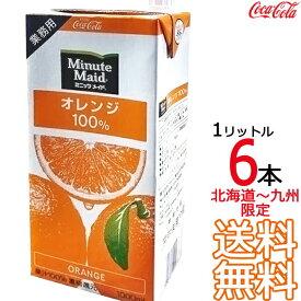 ミニッツメイド オレンジ 100% 1L 紙パック × 6本 (1ケース) 業務用 1000ml 濃縮果汁還元 コカ・コーラ Coca Cola 【同梱不可】