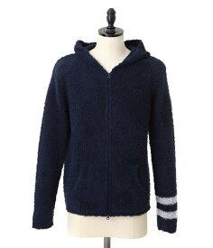 終了間際!【対象商品ポイント10倍!】BAREFOOT DREAMS / ベアフット ドリームス : 【男性サイズ】mens zip hoodie with stripe : メンズ フーディ パーカー ストライプ : C594navy【PIE】【BJB】