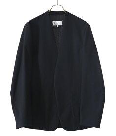 Maison Margiela / メゾン マルジェラ : NO COLLAR JACKET : ノー カラー ジャケット ボタンレス ミニマル シンプル カジュアル クラシカル ウールポプリン メンズ : S50BN0447-S44330【RIP】【BJB】