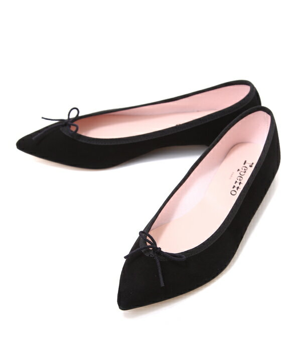 repetto [レペット] / <BRIGITTE>(V1556CV)-BLACK SUEDE- (パンプス ローヒール 靴 レディース ポインテッドトゥ フラットシューズ)51152-1-03556-99【ANN】