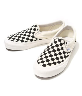 VANS VAULT [빵 볼트]/OG CLASSIC SLIP ON LX-(CANVAS) BLACK/WHITE CHECKERBOARD (운동 화 슬립 신발 슈즈) VN-0UDFF8L