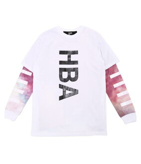 HOOD BY AIR. (후드 바이 어)/DOUBLE SLEEVE TEE-WHT (롱 티셔츠 후드 어 SAINT LAURENT PARIS) HBAF14-KT54-CWA