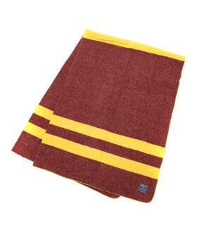 Faribault Woolen Mills ( faribaltuhrenmills ) Military Maroon w/Gold Stripe Twin Sergid (wool throw blankets and mats) 2067