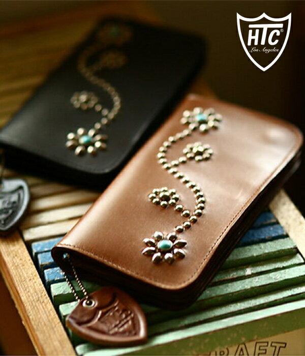 HTC / エイチティーシー : Turquoise Studs Flower LONG WALLET / 全3色 : ハリウッドトレーディングカンパニー ラウンド ロング ウォレット 財布 長財布 レザー ヴィンテージ スタッズ : TYPE-1-125【AST】