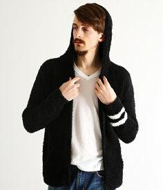 終了間際!【対象商品ポイント10倍!】BAREFOOT DREAMS / ベアフット ドリームス : 【男性サイズ】 mens zip hoodie with stripe : メンズ フーディ パーカー ストライプ : C594black【PIE】