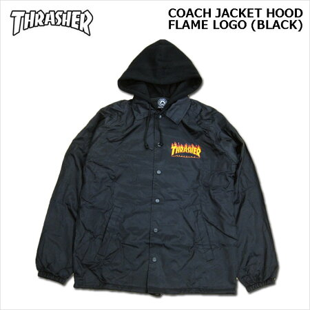 THRASHER(スラッシャー)/コーチジャケット/FLAMELOGOCOACHJACKETHOOD[Black]