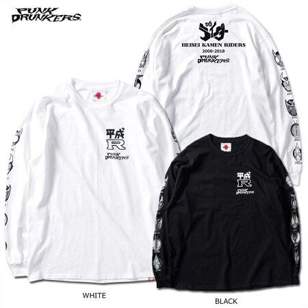【予約】PUNKDRUNKERS(パンクドランカーズ)/PDSx仮面ライダー/平成ライダー顔ロンTEE(2000〜2009ver.)/2019年3月入荷予定