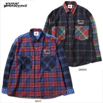 PUNK DRUNKERS(爆胎德兰汽车)/biggupoke躺下的衬衫/长袖子衬衫