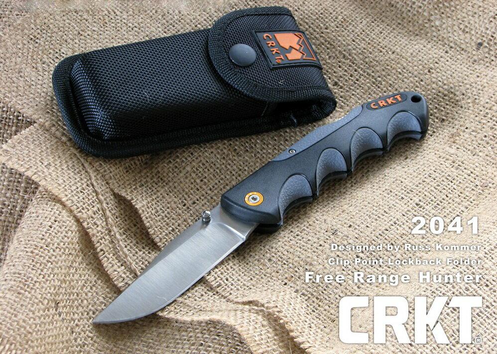 コロンビアリバー/CRKT 折り畳みナイフ 2041 Free Range Hunter フリーレンジハンター/ロックバック・フォルダー シルバー直刃