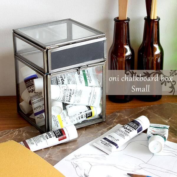 ガラスケース コレクションケース ディスプレイ アンティーク ガラス ケース ボックス かわいい 小物入れ インテリア レトロ 小物 収納 大人カワイイ スチール コレクションボックス オニ チョークボード ボックス oni chalkboard box S 展示 コレクション インテリア