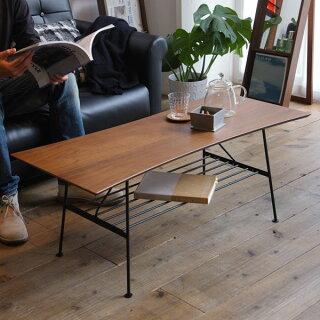 100レトロローテーブルブラウンカフェテーブルソファー北欧アンティークソファー一人暮らし棚付きセンターテーブル木製ウォールナットアンセムリビングナチュラル100cm幅ミッドセンチュリーモダン机おしゃれラック付き座卓