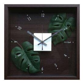 ウォールクロック 壁掛け時計 掛け時計 造花 インテリア 玄関 プレゼント ギフト 壁掛け 時計 かわいい 北欧 贈り物 四角 壁飾り 緑 正方形 おしゃれ リビング 寝室 グリーン リーフパネル 人工植物 立体 植物 モンステラ CDC-51810 Design Clock Leaf Monstera