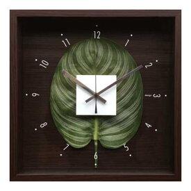 ウォールクロック 壁掛け時計 掛け時計 造花 インテリア 玄関 プレゼント ギフト 壁掛け 時計 かわいい 北欧 贈り物 四角 壁飾り 緑 正方形 おしゃれ 一人暮らし リビング 寝室 グリーン リーフパネル 人工植物 立体 植物 CDC-51811 Design Clock Leaf Calatteya