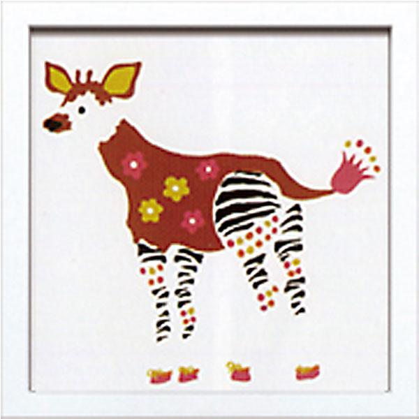 絵画 アートパネル Kayo Horaguchi ホラグチカヨ イラスト 絵 動物 オカピ 花 カラフル かわいい 壁掛け インテリア 卓上 壁面装飾 カフェ リビング ダイニング 玄関