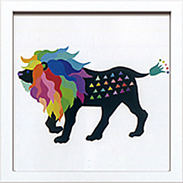 絵画 アートパネル Kayo Horaguchi ホラグチカヨ イラスト 絵 動物 ライオン 虹色 カラフル かわいい 壁掛け インテリア 卓上 壁面装飾 カフェ リビング ダイニング 玄関