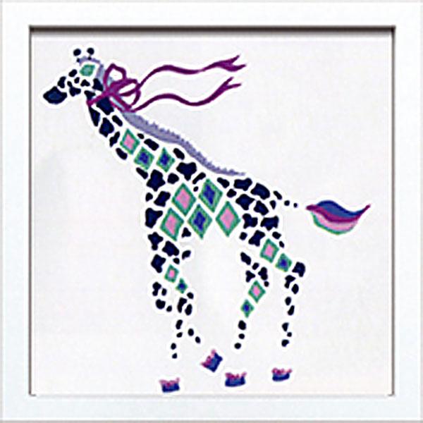 絵画 アートパネル Kayo Horaguchi ホラグチカヨ イラスト 絵 動物 キリン リボン カラフル かわいい 壁掛け インテリア 卓上 壁面装飾 カフェ リビング ダイニング 玄関