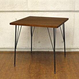 ダイニングテーブル 一人用 オーク材 正方形 カフェテーブル アイアン 北欧 アンティーク パソコンデスク 木製 カフェ テーブル 二人 単品 高さ70cm 幅75cm ブラウン 突板天板 机 デスク おしゃれ 2人 2人用 二人 インテリア カントリー 一人暮らし