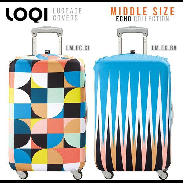 スーツケースカバー Mサイズ ラッゲージカバー キャリーバッグカバー キャリーケースカバー 旅行 目印 ECHOシリーズ エコー LOQI ローキー ミドルサイズ LUGGAGE COVER カバー 撥水 北欧 カラフル アジアン かわいい おしゃれ レトロ 大人カワイイ プレゼント ギフト