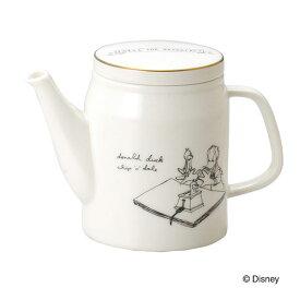 ティーポット ホワイト 洋食器 ドナルドダック カフェ風 食器 モノクロ 白 ディズニー イラスト カフェ 日本製 白黒 キャラクター Disney 急須 おしゃれ 磁器 かわいい D-MF01 ポット プレゼント ギフト 一人暮らし 引越し祝い 結婚祝い