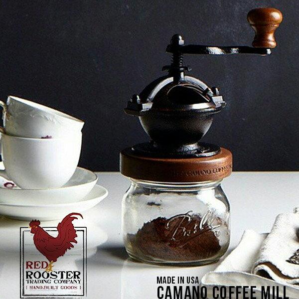 コーヒーミル 手動 CAMANO COFFEE MILL カノマコーヒーミル red rooster trading companiy 横回し 手動式 手挽き ハンドミル アメリカ Ball Mason Jar