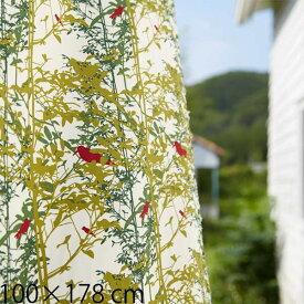 カーテン モダン グレー グリーン ドレープカーテン 柄物 既製カーテン おしゃれ 北欧 100×178 2枚組 QUARTER REPORT 日本製 A Walk in the Woods